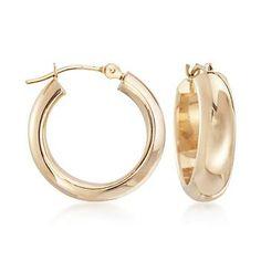 Ross-Simons - 14kt Yellow Gold Small Round Hoop Earrings - #831553