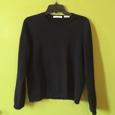 Neiman Marcus black cashmere crewneck sweater Black super soft everyday staple. Great for layering. This sweater has been loved and has a few frayed spots at bottom. Feels great! Fitted not loose. Could fit a small! Neiman Marcus Sweaters Crew & Scoop Necks