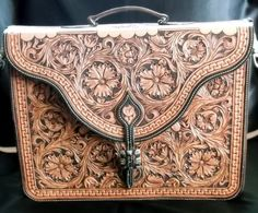 The hand-tooled leather briefcase - via @Marilyn McMullan McMullan McMullan Pleadwell - #CowgirlChic