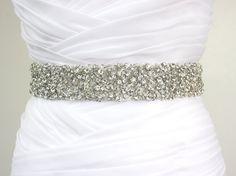 "Best Seller - CORINNE - 1 1/2"" Bridal Couture Crystal Rhinestone Encrusted Bridal Sash, Wedding Beaded Sash Belt. $185.00, via Etsy."