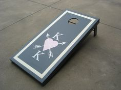 Wedding Reception Cornhole Board Game! Pink and grey themed
