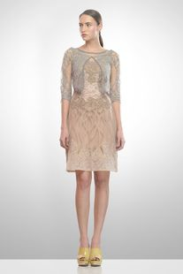 Textured dress with cape