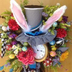 Mad hatter hatter rabbit Easter spring by UniqueThingamajigs