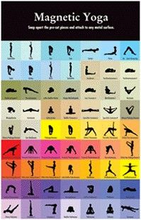 The Magnetic Yoga 63-Piece Set features one-inch tiles that you simply snap apart and put on any magnetic surface. You get 63 different poses, in a variety of colors, complete with both the Sanskrit and English names. They can be rearranged to create numerous unique yoga routines - use in your studio, make a statement at work, or can be used to simply decorate your refrigerator. Makes a great gift for that yogi in your life!