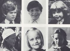 Charles and Diana's pageboys, flower girls and bridesmaids.  Lord Nicholas Windsor, Edward Van Cutsem,   Catherine Cameron, India Hicks, Clementine Hambro and Sarah Jane Gasiee.