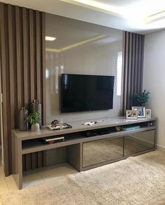 29 Ideas Home Sala Pequena Living Room Tv Unit, Living Room Sofa, Living Room Decor, Bedroom Decor, Tv Wall Design, Tv Unit Design, Tv Unit Furniture, Furniture Design, Tv Wall Panel
