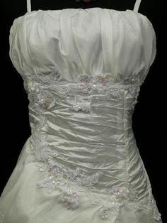 Cherlone Plus Size Satin White Ball Gown Wedding/Evening Bridesmaid Dress 20-22