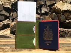 Emerald Green & Copper Legacy Leather Passport Wallets   Etsy Leather Passport Wallet, Leather Wallet, Money Clip Wallet, Card Wallet, Canadian Passport, Bank Card, Green Copper, Hole Punch, Card Holders