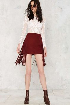 Nasty Gal Good Swings Come Suede Skirt - Clothes