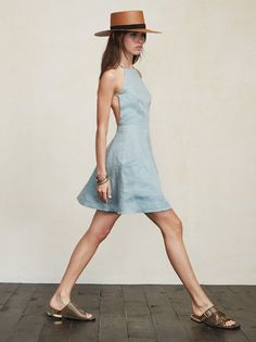 Fresh linens for summer. The Aurora Dress is cute, easy, and shows just the right amount of skin. https://www.thereformation.com/products/aurora-dress-pond?utm_source=pinterest&utm_medium=organic&utm_campaign=PinterestOwnedPins