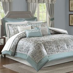 Astoria Grand Wightmans 24 Piece Bed in a Bag Size: California King, Color: Teal Teal Comforter, Bedroom Comforter Sets, Blue Duvet, King Comforter, Luxury Bedding Sets, Aqua Bedrooms, Bed Cover Design, Futon Bed, Modern Master Bedroom