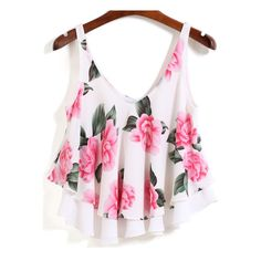 SheIn(sheinside) White Strap Floral Loose Cami Top ($14) ❤ liked on Polyvore featuring tops, pink, tanks, multi color, loose tank, loose fitting tank tops, pink cami, pink tank and floral tank top