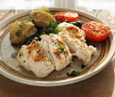 Coronation Potato Salad and Low-Fat Pan-Fried Garlic Hake Fillets