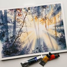scorching beam of sunlight can not be compared Watercolor Landscape, Landscape Paintings, Watercolor Paintings, Watercolors, Watercolor Flowers, Landscapes, Painting Lessons, Painting & Drawing, Painting Inspiration