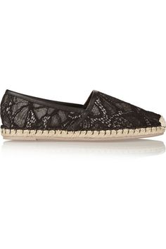 Valentino | Lace and leather espadrilles | NET-A-PORTER.COM