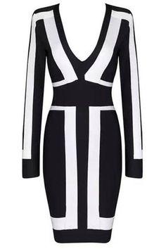 Long Sleeve Black & White Bandage Dress