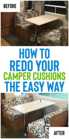 How To Reupholster Camper Cushions The Easy Way - Organization Obsessed - Remodeling your camper? Check out how to reupholster camper cushions the easy way! No sewing required! This is a great DIY project for any Camper owner! Popup Camper Remodel, Travel Trailer Remodel, Camper Renovation, How To Remodel A Camper, Travel Trailer Decor, Trailer Diy, Tent Trailer Camping, Pop Up Tent Trailer, Travel Trailer Organization