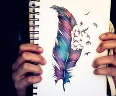 Love my feather tattoo! But the color of this drawing is beautiful