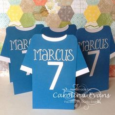Punch Art Football Soccer Shirt Invitations by Carolina Evans - Cards and Paper Crafts at Splitcoaststampers Soccer Birthday, Birthday Cards For Boys, Man Birthday, Pop Up Invitation, Diy Invitations, Football Invitations, Art Football, Football Cards, Punch Art
