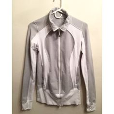Lululemon Grey/White Wee Stripe Nice Asana Jacket Worn once in like-new condition. Sold out and hard to find color. Grey wee stripe with white contrast. Beautiful jacket! lululemon athletica Tops Sweatshirts & Hoodies