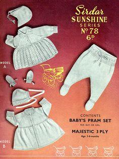 PDF Vintage Baby Knitting Pattern Sirdar 78 Sunshine Series Pram Set Lace Matinee, Pull Ups Leggings Christening, Doll, Kitsch, Retro