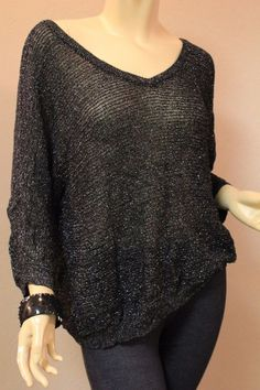 Torrid Black Silver Metallic Knit Sweater Top Elbow Length Sleeves 3 3X 22-24 #Torrid #VNeck