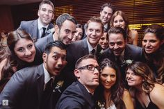 Three words that describe this wedding: football, hora, and Oscar selfie!