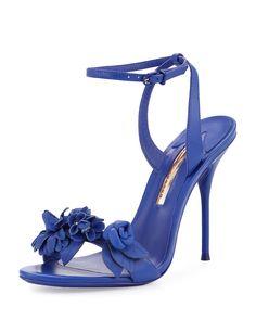 Sophia Webster Lilico Floral Leather Sandal, Royal