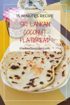 15-minutes recipe for Sri Lankan pol roti - coconut flat bread! Click on pin to check this easy recipe or save for later!