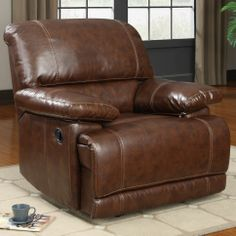 Bobkona Rocker Recliner in Mahogany Bonded Leather