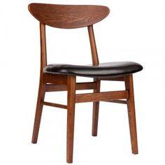 Black Vegan Leather Walnut Cody Dining Chair