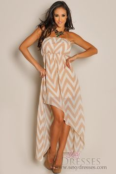 Trendy Taupe Chevron Diagonal High Low Dress