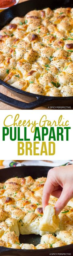 Simple Cheesy Garlic Pull Apart Bread recipe made in a skillet! This tantalizing party snack makes little bites of cheese bread that can be dipped! Bread Appetizers, Appetizer Recipes, Snack Recipes, Cooking Recipes, Lentil Recipes, Tofu Recipes, Oven Recipes, Turkey Recipes, Potato Recipes
