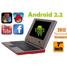 RED LAPTOP Cheap Computer with Installed WIFI 7inch Android 2.2 Tablet PC Netbook Notebook 4gb HD 256mb Ram (INCLUDES: Velvet Pouch Case, Charger, Mini Optical Mouse)  Product sku: 105 Availability: 6  Price: $169.99 $99.94