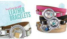 Origami Owl- New Leather wrap bracelets! Available this month in black, silver, pink and brown.