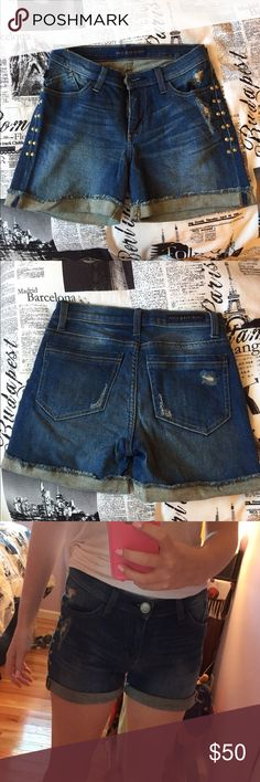 Rock and Republic studded denim shorts super adorable rock and republic studded denim shorts, worn maybe 3 times , perfect condition!! OPEN TO ALL OFFERS Rock & Republic Shorts Jean Shorts
