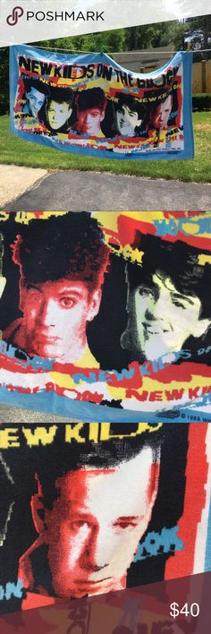 NEW KIDS ON THE BLOCK 1989 BEACH TOWEL !! Excellent condition vintage New Kids On The Block Beach Towel. Great for any New Kids Fan. Use it at the beach or it could make a really cool and fun tablecloth !! Come on girls, not to many of these around. 😊 Price is firm 💕 Other
