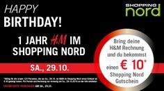 Shopping Nord - 1 Jahr H&M im Shopping Nord-€ 10 geschenkt bekommen,ein Special OFFER von H&M am Sa., 29.10.! Am 29.10. bekommen die ersten 123 Kunden,die mit ihrem H&M Beleg vom Sa., 29.10. vom Shopping Nord zur Info ins EG kommen,einen € 10 Shopping Nord Gutschein geschenkt! Special OFFER bei H&M am 29.10.! Am 29.10. shoppen und mit deiner Rechnung 20% Rabatt auf dein Lieblingsteil holen! Einlösbar von 31.10. bis 12.11.2016 im H&M Store im Shopping Nord. In 25 Shops gibt es weitere… E 10, Flyer, Events, Calculus, Gift Cards, Shopping