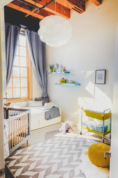 Gray and White Nursery with Yellow Accents - love the modern, yet functional design!