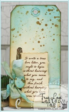 Tammy Tutterow | True Love Letter Tag featuring Tim Holtz Distress Inks and Stamps.