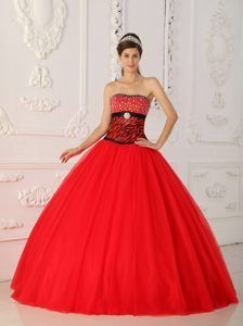 4cf406a85b Buy a line strapless floor length coral red zebra beaded quinceanera dress  from hot pink quinceanera dresses collection