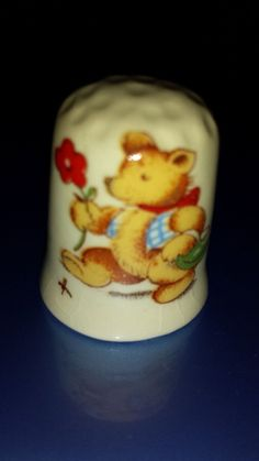 Vintage Porcelain Thimble Bear Strolling Holding A Flower | eBay