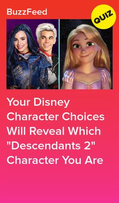 "Your Disney Character Choices Will Reveal Which ""Descendants Character You Are Disney Princess Quiz Buzzfeed, Disney Quiz, Disney Facts, Princess Disney, Descendants Characters, Disney Channel Descendants, Disney Characters, Personality Quizzes For Kids, Disney Channel Quizzes"