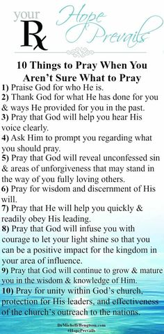 At times, you want to pray, but you don't know what to pray. Use these 10 areas as a starting point. Ask God to bring other areas to your remembrance.