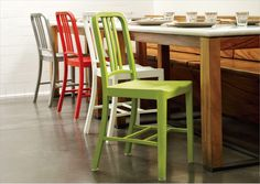 these chairs are made from recycled coke bottles. breakfast nook idea.