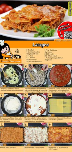 Lasagne Rezept mit Video - so macht ihr Lasagne Bolognese - Lasagne Rezept mit Video { You are in the right place for diy crafts Here we present diy c - Lasagne Bolognese, Italian Soup, Good Food, Yummy Food, No Salt Recipes, Italy Food, Best Italian Recipes, Cooking On The Grill, Italian Foods