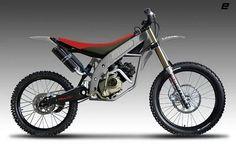 Moto com partes de mountain bike.