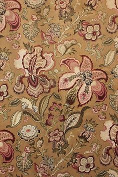 Stunning century Indienne designed fabric ~ all hand block printed ~ beautiful large scale floral ~ ideal for upholstery, pillows etc ~ Floral Upholstery Fabric, Chintz Fabric, Floral Fabric, Textures Patterns, Fabric Patterns, French Fabric, Vintage Textiles, Textile Prints, Butterflies