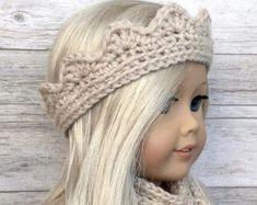 DIY Crochet Pattern – 18 inch Doll Tiara/Crown Headband and Skinny Scarf Set PDF 25 (Fits American Girl Dolls) – Digital Download #Americangirldolls
