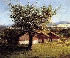 Paysage suisse avec Floraison Pommier, huile sur toile de Gustave Courbet (1819-1877, France)